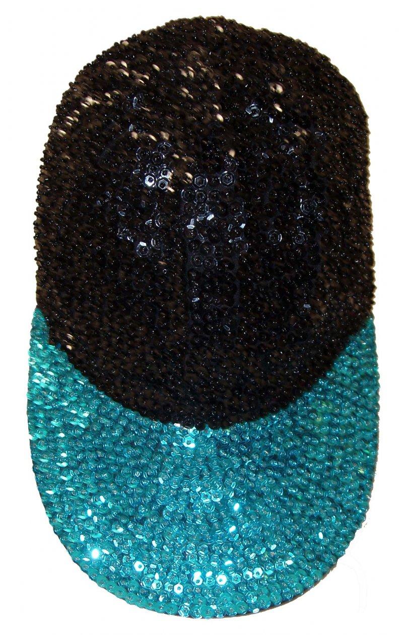 Image 0 of Sequin Baseball Cap Black/Turquoise