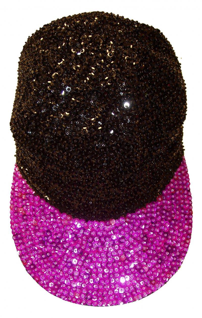 Image 0 of Sequin Baseball Cap Black/Purple