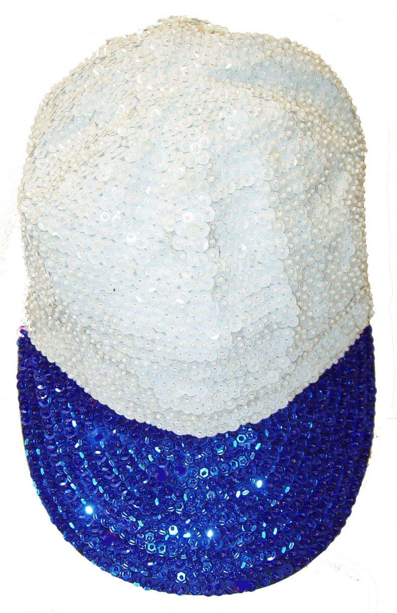 Image 0 of Sequin Baseball Cap White/Blue