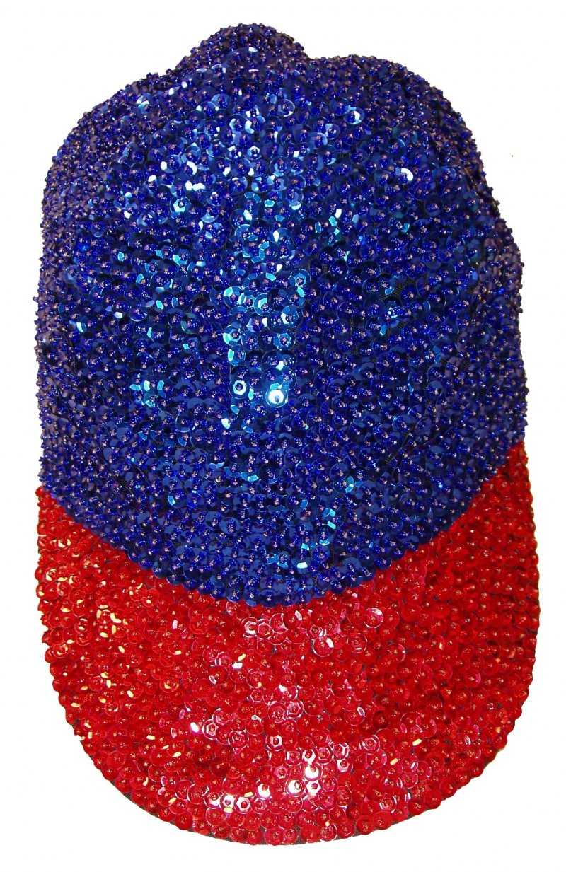 Image 0 of Sequin Baseball Cap Blue/Red