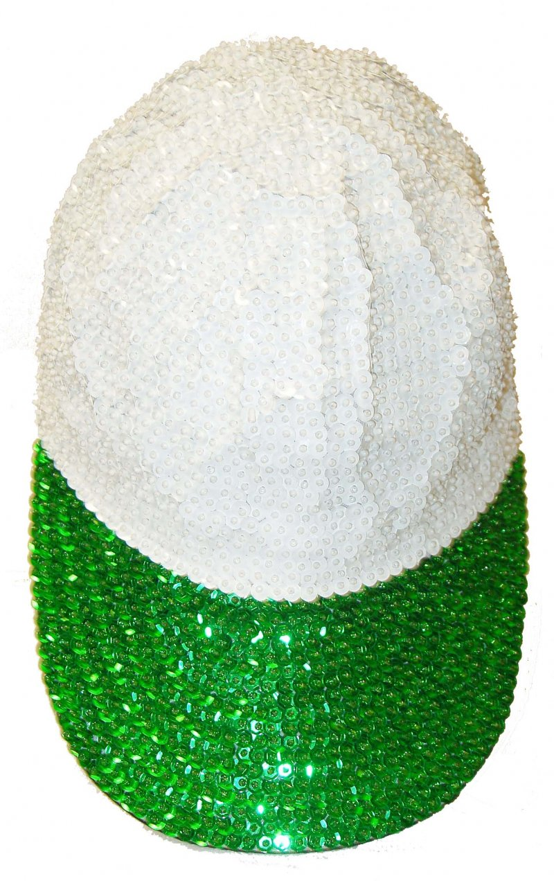 Image 0 of Sequin Baseball Cap White/Emerald Green