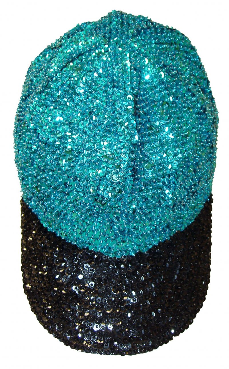 Image 0 of Sequin Baseball Cap Turquoise/Black