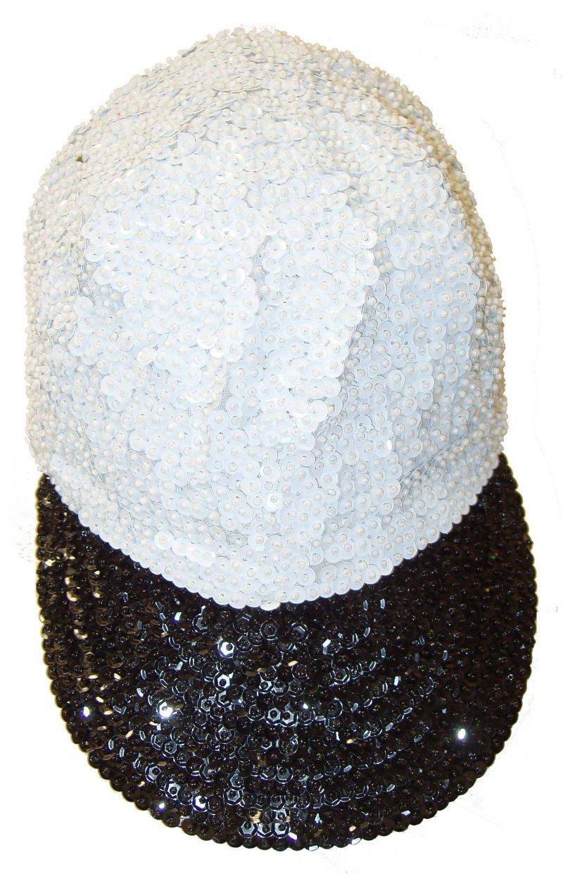 Image 0 of Sequin Baseball Cap White/Black