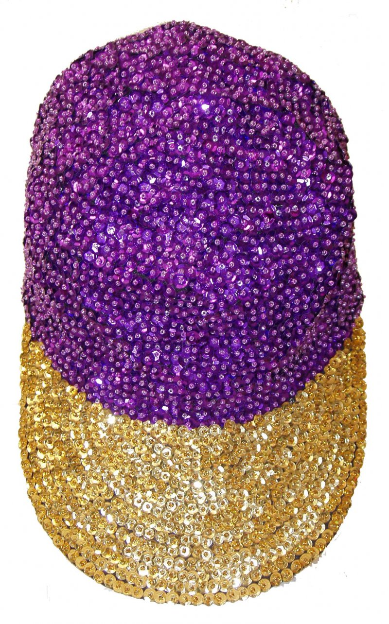 Image 0 of Sequin Baseball Cap Purple/Gold