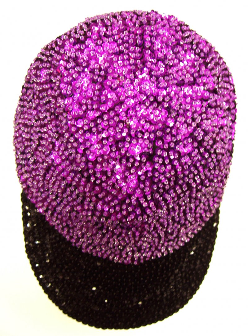 Image 0 of Sequin Baseball Cap Purple/Black