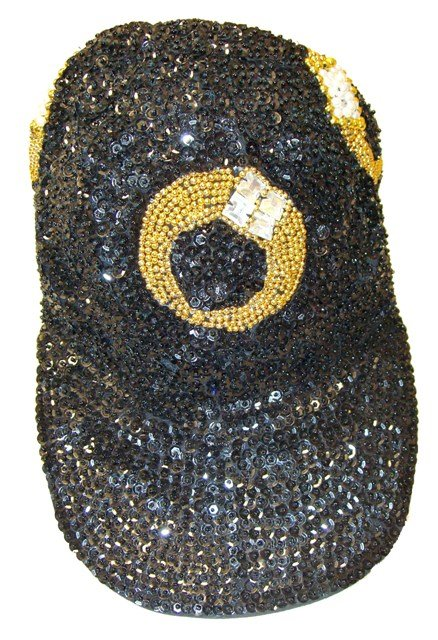 Image 0 of Sequin Baseball Cap Black w/Rings