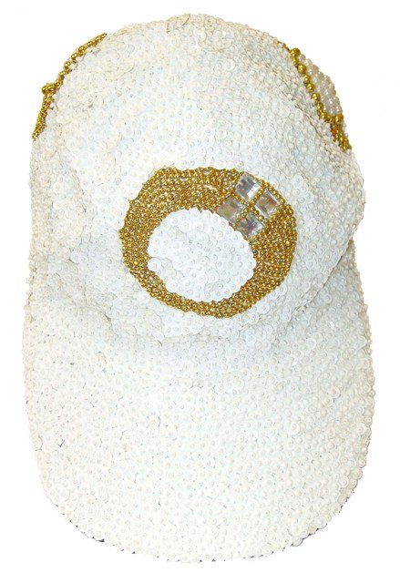 Image 0 of Sequin Baseball Cap White w/Rings