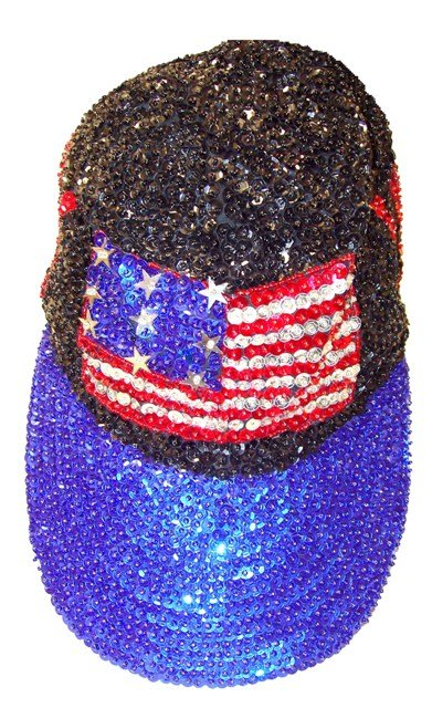 Image 0 of Sequin Baseball Cap Black & Blue USA FLAG