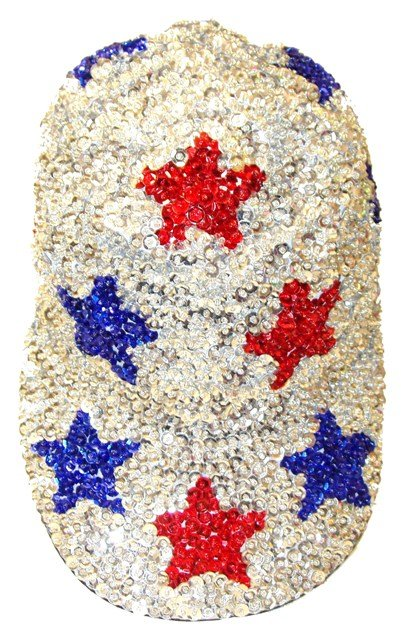 Image 0 of Sequin Baseball Cap SILVER with RED & BLUE Stars