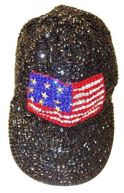 Image 0 of Sequin Baseball Cap USA FLAG  Stars Stripes Black American Pride