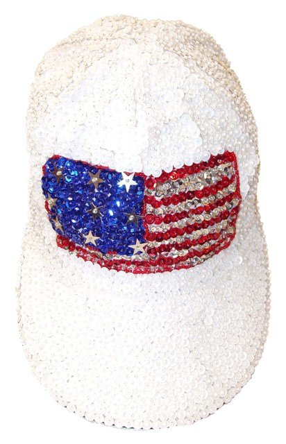 Image 0 of Sequin Baseball Cap White w/USA Flag