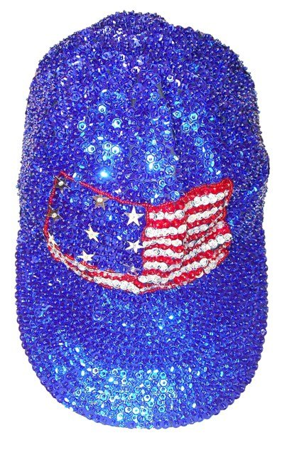 Image 0 of Sequin Baseball Cap USA FLAG Blue American Patriotic Event