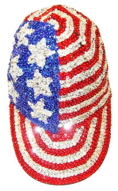 Image 0 of Sequin Baseball Cap USA #1
