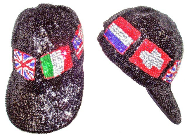Image 0 of Sequin Baseball Cap Flags Of The World