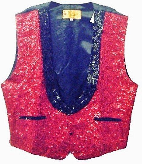 Image 0 of Sequin Tuxedo Vest Red w/Black Trim