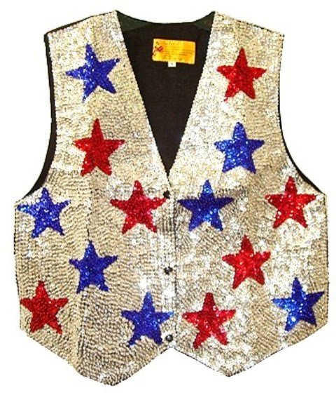 Image 0 of Sequin Vest Silver w/Red & Blue Stars