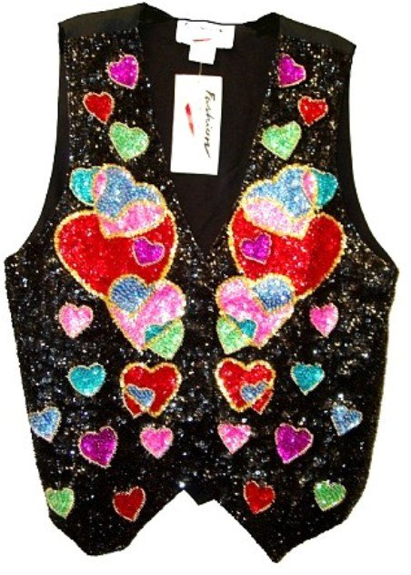 Image 0 of Sequin Vest Multi-Hearts