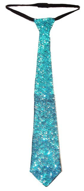 Image 0 of Sequin Neck Tie Aqua/Turquoise