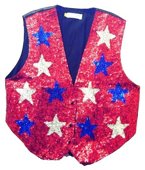 Image 0 of Sequin Vest Red w/Blue & Silver Stars