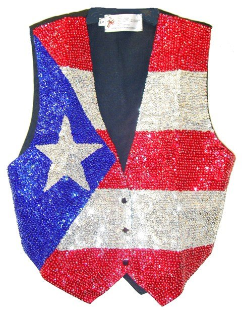 Image 0 of Sequin Vest Puerto Rico Flag