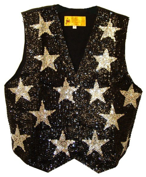 Image 0 of Sequin Vest Black w/Silver Stars For Kids