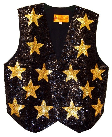 Image 0 of Sequin Vest Black w/Gold Stars For Kids