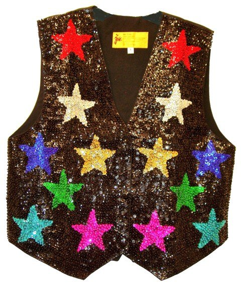 Image 0 of Sequin Vest Black w/Color Stars For Kids