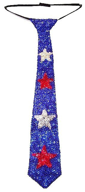 Image 0 of Sequin Neck Tie Blue w/Red & Silver Stars