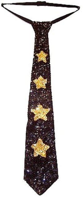 Image 0 of Sequin Neck Tie Black w/Gold Stars