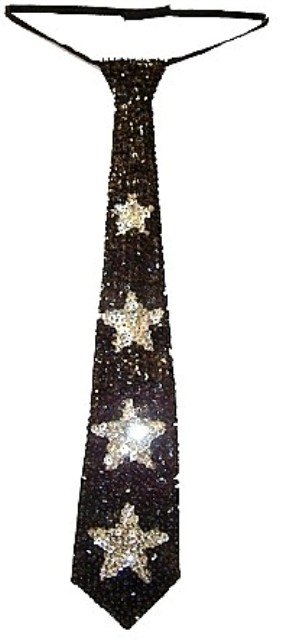 Image 0 of Sequin Neck Tie Black w/Silver Stars