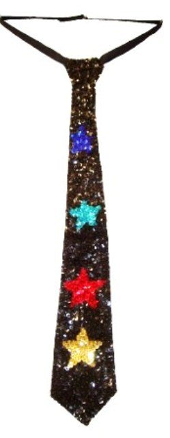 Image 0 of Sequin Neck Tie Black w/Color Stars