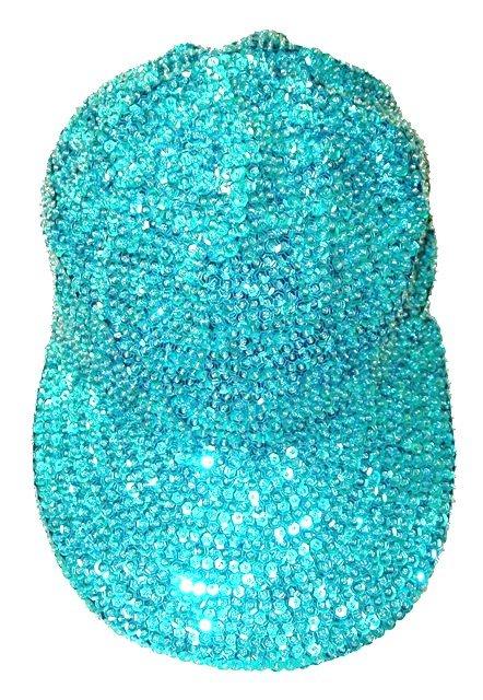 Image 0 of Sequin Baseball Cap Turquoise For Boys/Girls