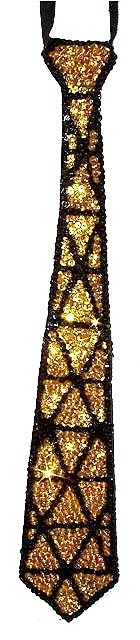 Image 0 of Sequin Neck Tie Gold Triangles