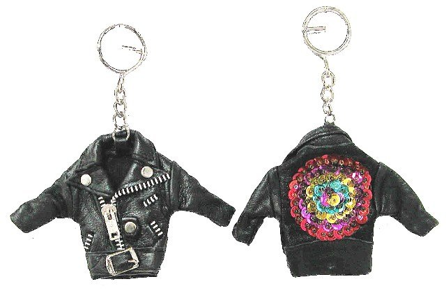 Image 0 of Sequin Keychain Leather Jacket w/Sequins # 1