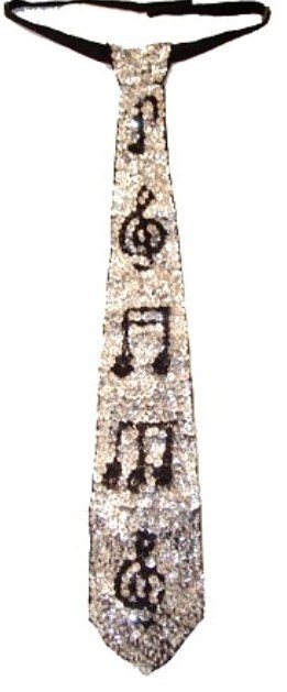 Image 0 of Sequin Neck Tie Silver w/Black Music Notes