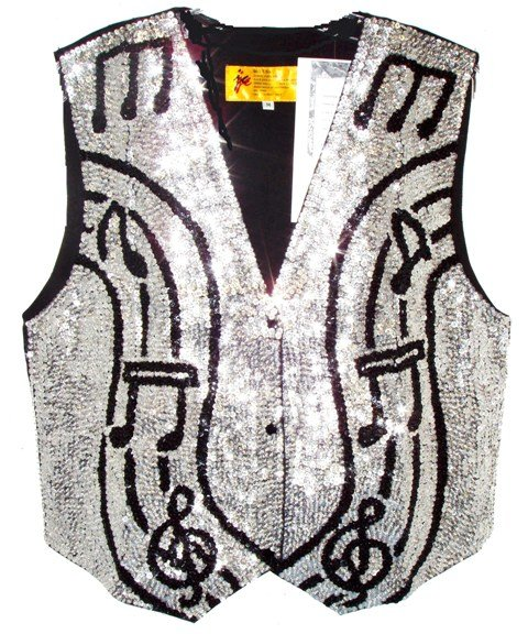 Image 0 of Sequin Vest Silver w/Black Music Notes On Bar