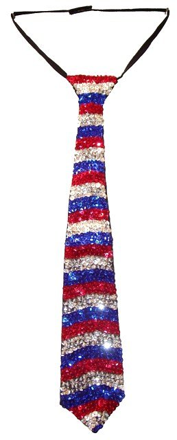 Image 0 of Sequin Neck Tie USA Stripes