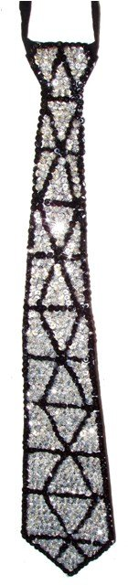 Image 0 of Sequin Neck Tie Silver Triangles