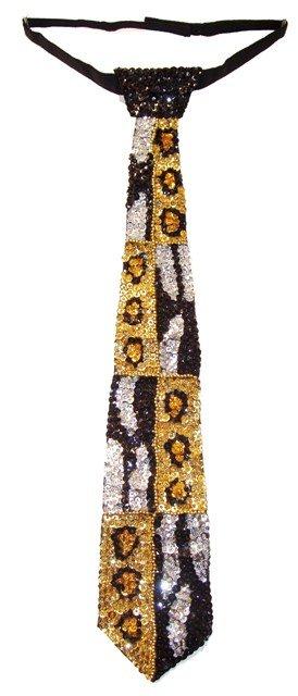 Image 0 of Sequin Neck Tie Tiger/Leopard
