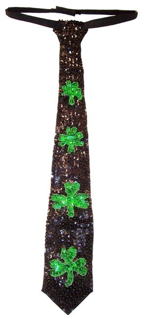 Image 0 of Sequin Neck Tie Black w/Shamrock