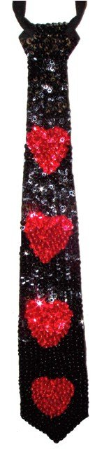 Image 0 of Sequin Neck Tie Black w/Red Hearts
