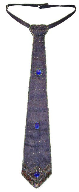 Image 0 of Sequin Denim Neck Tie Navy Blue