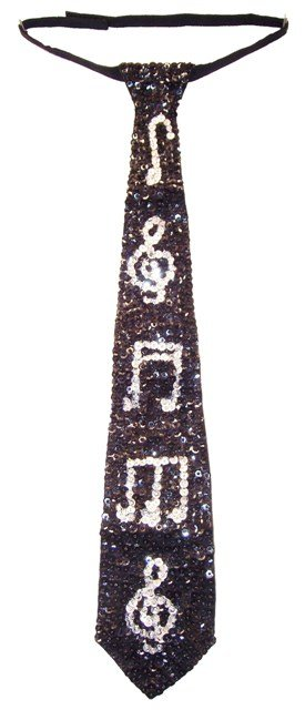 Image 0 of Sequin Neck Tie Black w/Silver Music Notes