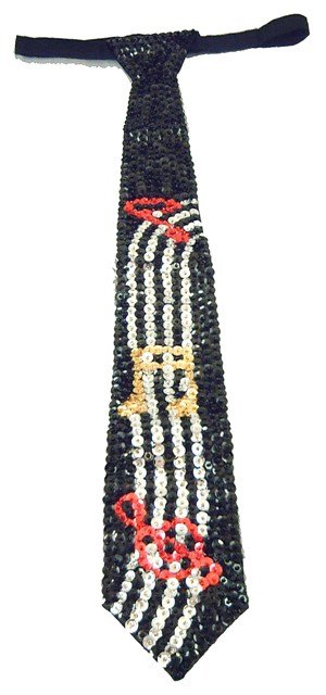 Image 0 of Sequin Neck Tie Black w/Color Music Notes on Bar