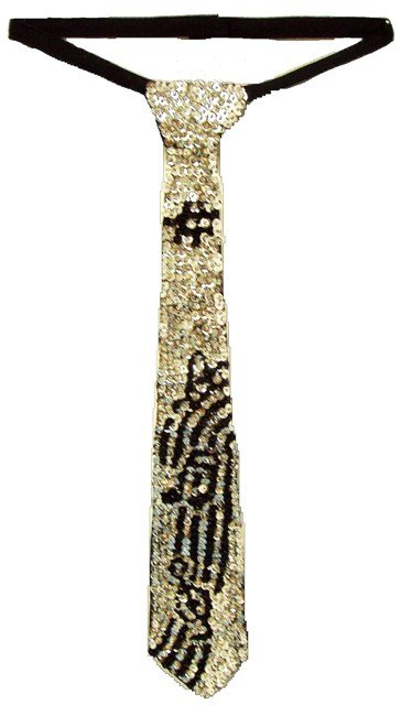 Image 0 of Sequin Neck Tie Silver w/Black Music Notes on Bar