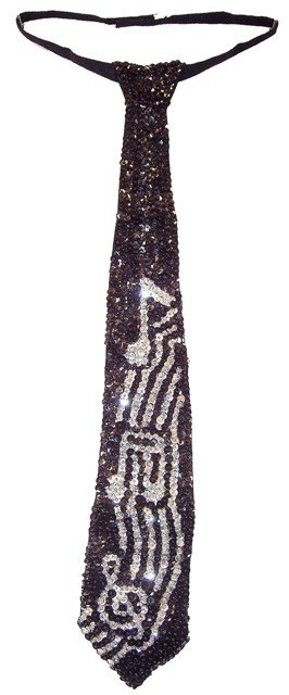 Image 0 of Sequin Neck Tie Black w/Silver Music Notes on Bar