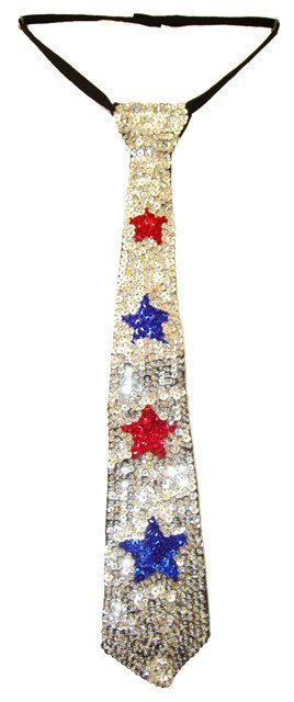 Image 0 of Sequin Neck Tie Silver w/Red & Blue Stars