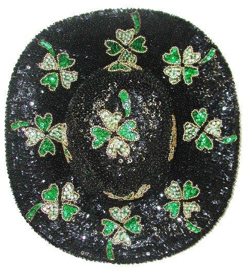 Image 0 of Sequin Cowboy Hat Black w/Shamrock