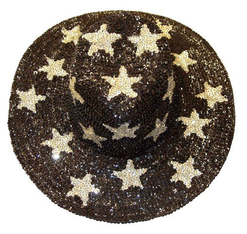 Image 0 of Sequin Cowboy Hat Black w/Silver Stars
