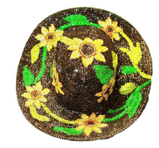 Image 0 of Sequin Cowboy Hat Black Sunflower